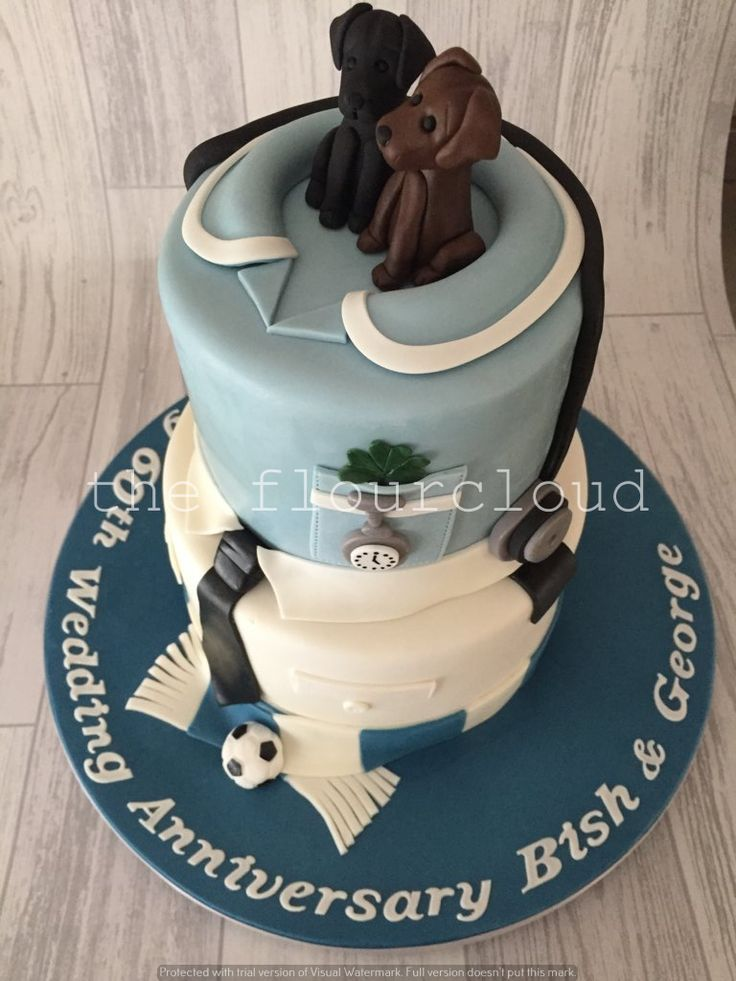 A Personalised Wedding Anniversary Cake Bottom Tier For Policeman Who Loves Portsmouth Football Club