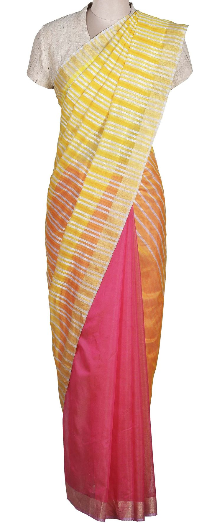 Stripe Chanderi Half Saree