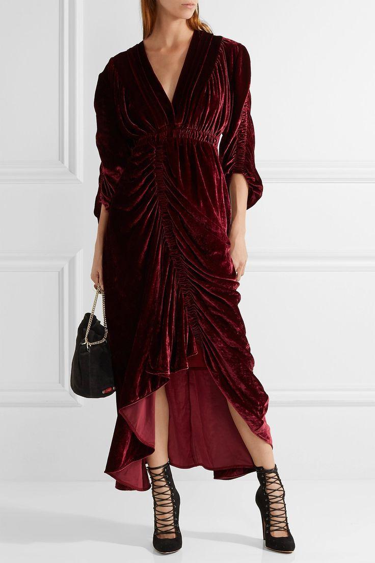Preen by Thornton Bregazzi | Rebecca ruched velvet dress | NET-A-PORTER.COM