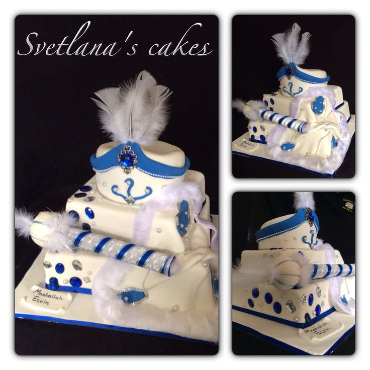 Three tier white, blue & silver sunnet cake with draped cape, hat and handmade stick for Ervin!!... Mashallah Ervin!!...