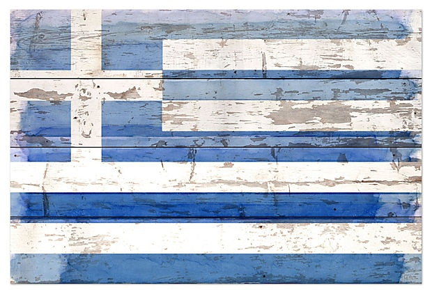For our guest bedroom! i wish! Greek Flag, reclaimed wood on OneKingsLane.com