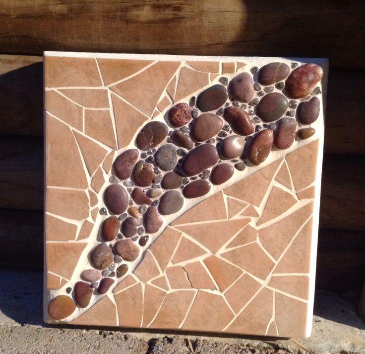 Garden Art - river pebbles and clear quartz.