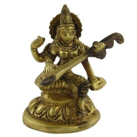Amazon.com: Religious Statues of Hindu Goddess Sarasvati in Brass: Home & Kitchen