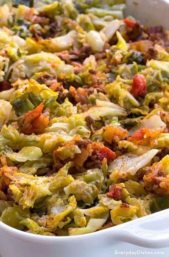 Stuffed cabbage casserole recipe - I used the WHOLE head of cabbage and added, over the top, a can of condensed tomato soup with a can of milk mixed together.  Oh, and extra minced garlic.  YUMMMM!!!
