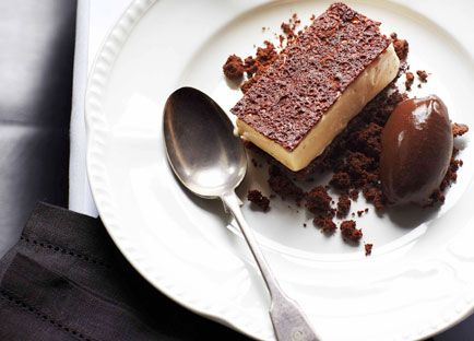 Australian Gourmet Traveller recipe for white chocolate parfait with chocolate sorbet by Colin Fassnidge from Sydney restaurant Four in Hand.