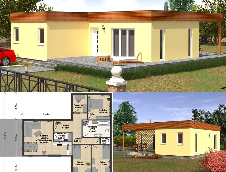 Krásný přízemní dům Goopan G4-89 s dispozičním řešením 5+kk a 101 m2 podlahové plochy nabízí skvělé bydlení za nízkou cenu :) V domě se nachází vstupní hala, ze které vstoupíte do obývacího pokoje, jehož součástí je jídelna a kuchyň, do ložnice, dvou prostorných pokojů, pracovny, prostorné koupelny s WC a také do samostatného WC.Četná francouzská okna dodají obytným prostorům krásné denní světlo a pro chvíle strávené na zahradě můžete k odpočinku využít pergolu, jež je součástí…