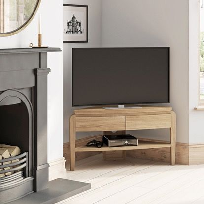 Samuel natural oak corner TV unit