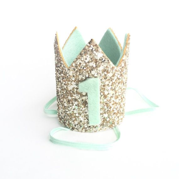 Miniature 1st birthday crown headband in Mint and Gold  so cute