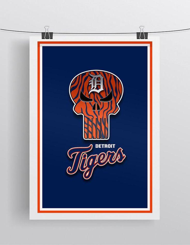 Detroit Tigers Punisher Poster, Detroit Tigers Punisher Logo Artwork Gift, Tigers Punisher Man Cave Art