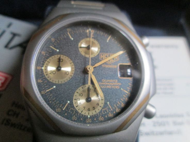 HEUER TITANIUM AND GOLD, CHRONOGRAPH , VINTAGE, NOS