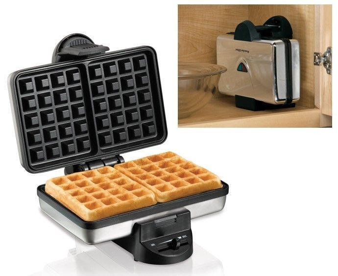 Electric Waffle Machine Nonstick Stainless Steel Kitchen Baker Iron Maker Double #ElectricWaffleMachine