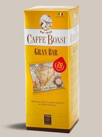 Pods Boasi Gran Bar 20 Pieces - Fine blend of fine coffees from plantations of the best Brazilian regions and fragrant coffee from the highlands of Central America with the aroma of fruits and flowers. Delicate blend, aromatic and fragrant coffee for real experts. PACKAGES: Pods