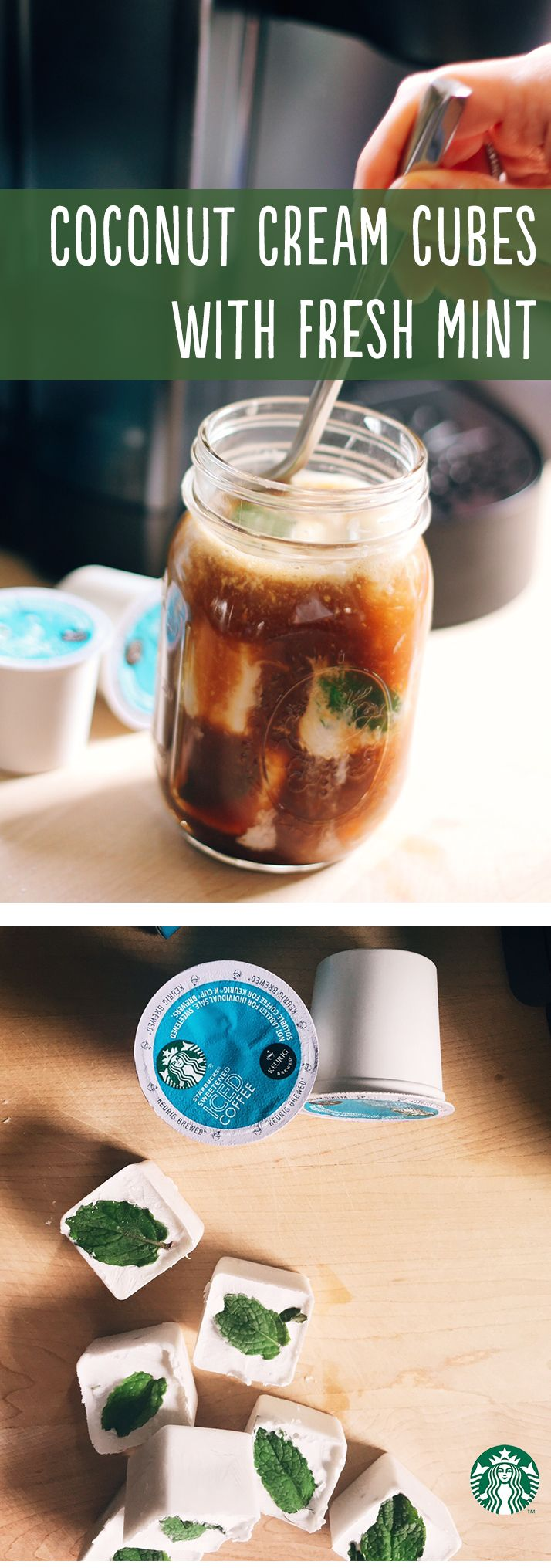 Mint Ice Cubes Recipe Pour 1 Can Coconut Milk Into Cube Trays Add Two Leaves To Each Place In The Freezer Brew One Iced Coffee K Cup