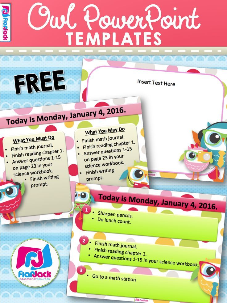 Are you looking for an engaging way to organize morning work or lesson activity instructions? Try these three editable owl PowerPoint templates that students will love to look at when they walk into your classroom. These templates are FREE when you subscribe to the FlapJack newsletter and answer a quick survey. :)