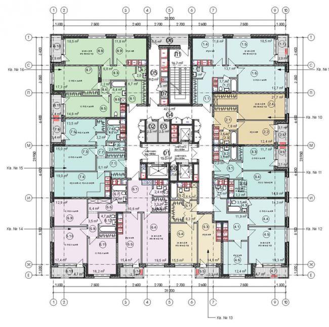 Жилой комплекс «Достояние». Два корпуса на ул. Ярцевской, вл. 34. План 4 этажа (корпус 2). Проект, 2016 © Архитектурная мастерская «ГРАН»
