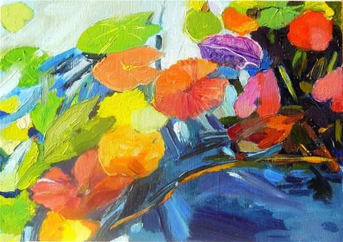"""Daily Paintworks - """"Lily leaves 1"""" - Original Fine Art for Sale - © Anita Badami"""