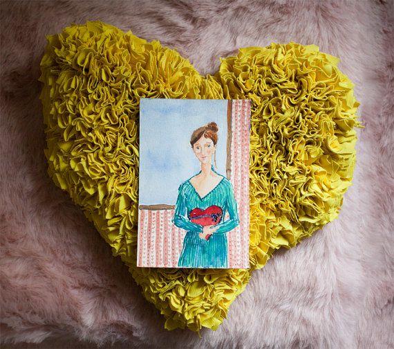 Love painting, watercolour art, OOAK, romantic art, light colours, woman art, hearts, hearts decor