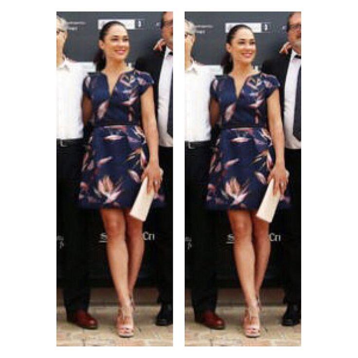 Eva Marciel actress in Malagas film festival 2016 wears Atos Lombardini dress, Jimmy Choo sandals, Ursula Mascaró clutch And Ararat jewels  STYLED BY ME
