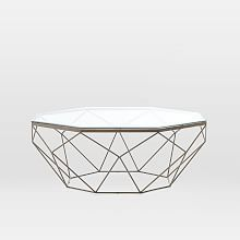 Geometric Coffee Table sectional with a stone top circular table