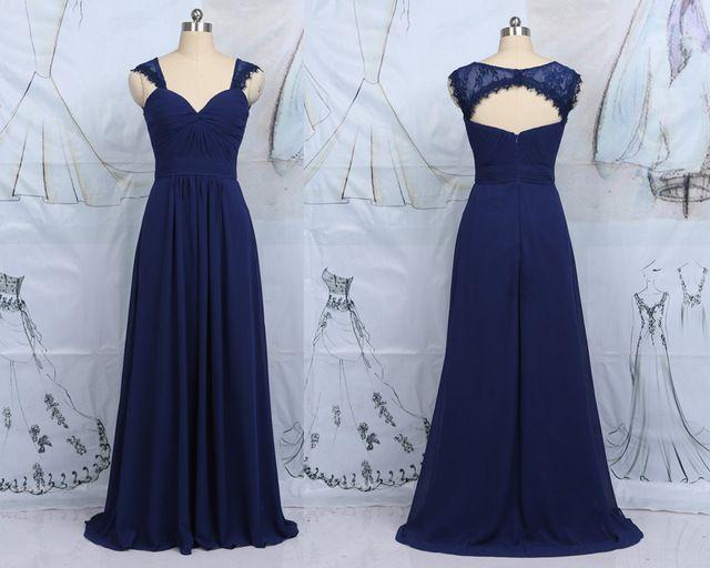 Muestra verdadera azul marino novia de gasa dama de Honor largo vestidos Modest una línea de dama de Honor vestido para la boda