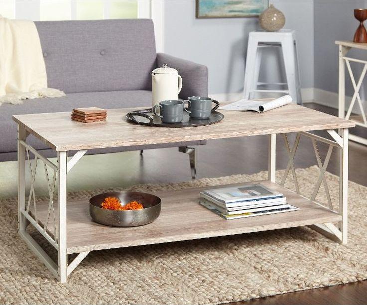 Kombination aus Weiß und Holzoptik für den Wohnzimmertisch