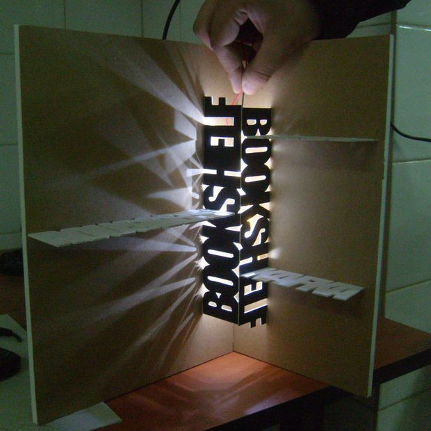 Angular bookcase with illumination LEDs
