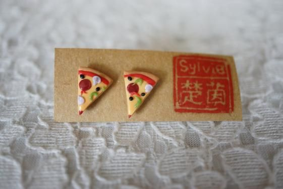 Round She Goes - Market Place - Pizza Polymer Clay charm jewelry earrings stud