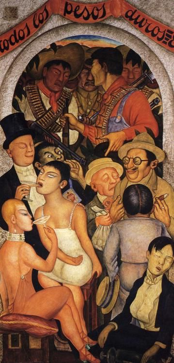 """""""Night of the Rich""""  Diego Rivera mural in the Fiesta Courtyard at the Ministry of Education building.  Mexico City, MEXICO."""
