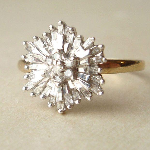 1950's Baguette Diamond Starburst Ring, Vintage Diamond Flower Ring