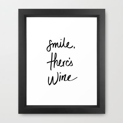 Smile - Wine Framed Art Print by Note to Self: The Print Shop - $35.00