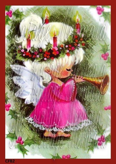 Fabric Vintage Christmas Greeting Card by MermaidFabricBlocks