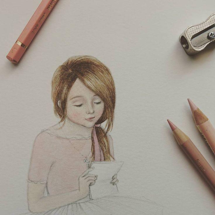 A girl reading a #secretletter 비밀편지를 읽는 #소녀 채색작업 중 #reyes