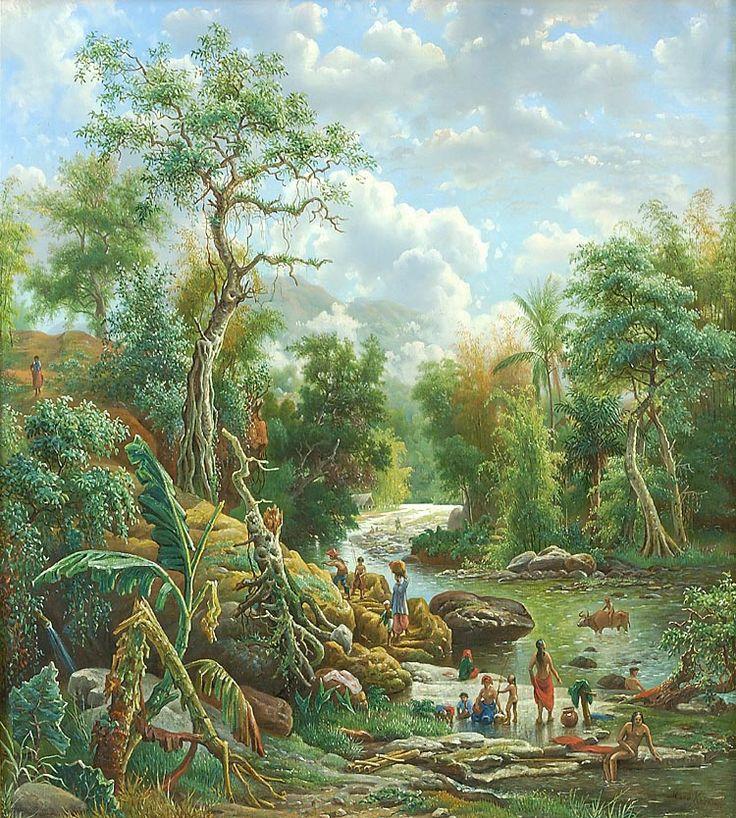 Olieverfschildering voorstellend de rivier Bangak en het Kawigebergte te Malang door M.E.H.R. van den Kerkhoff, 58 x 53 cm