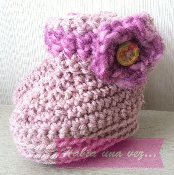 Botitas tejidas bebé niña on Etsy, US$12,00