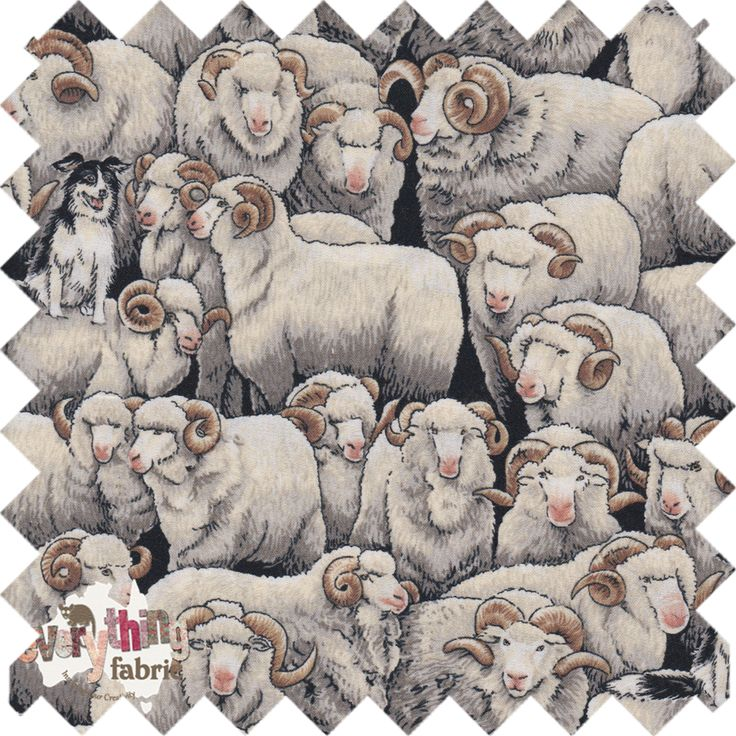 Kiwiana Fabric. Merino Sheep with the Border Collie http://www.everythingfabric.com.au/shop/category/fabric-by-collection/new-zealand/