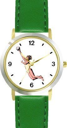 Woman Beach Volleyball Player No.2 Playing Volleyball or Volley Ball Theme - WATCHBUDDY® DELUXE TWO-TONE THEME WATCH - Arabic Numbers - Green Leather Strap-Children's Size-Small ( Boy's Size & Girl's Size ) WatchBuddy. $49.95