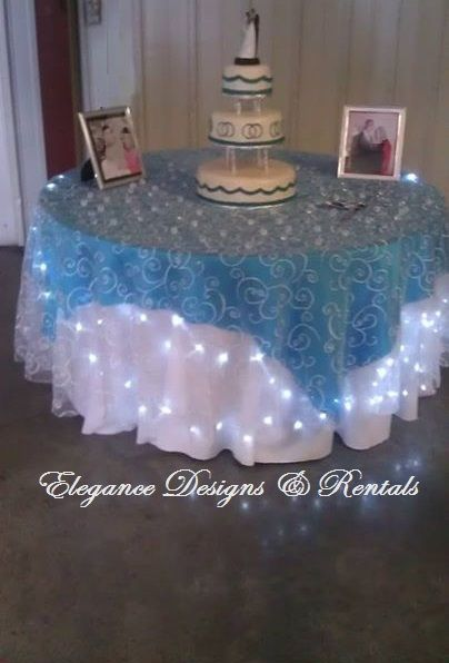 Cake Table in Malibu Blue / Dark Turquoise and White with White Embroidered overlay with lights