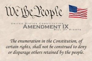 9th Amendment  (1787)  The 9th Amendment is simply a statement that other rights aside from those listed may exist, and just because they are not listed doesn't mean they can be violated.