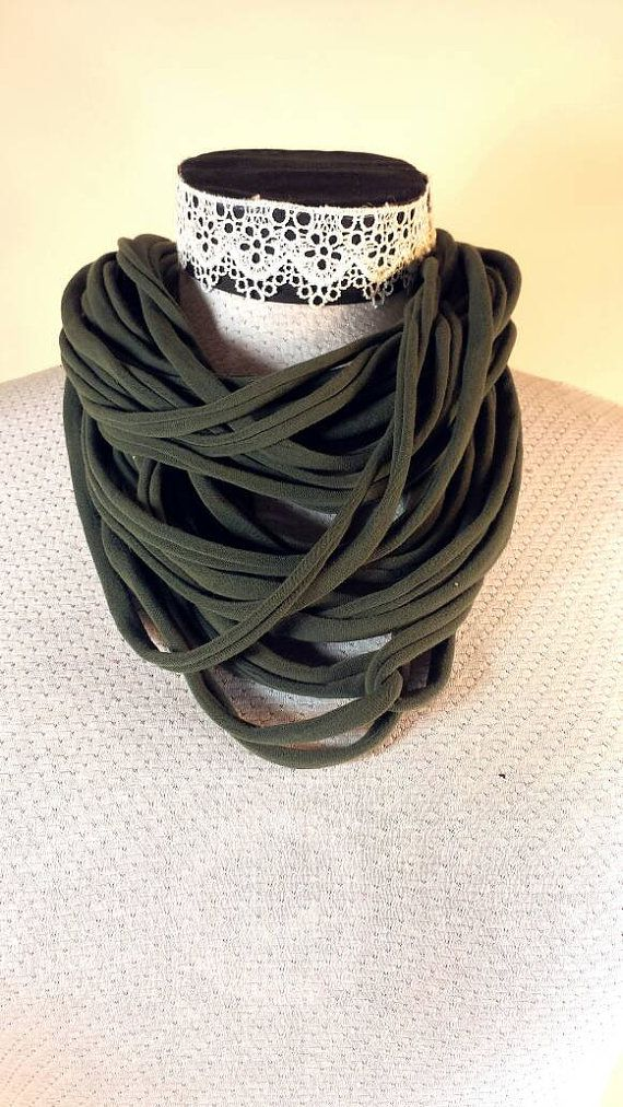 Check out this item in my Etsy shop https://www.etsy.com/ca/listing/271079093/army-green-recyclef-tshirt-yarn-fabric