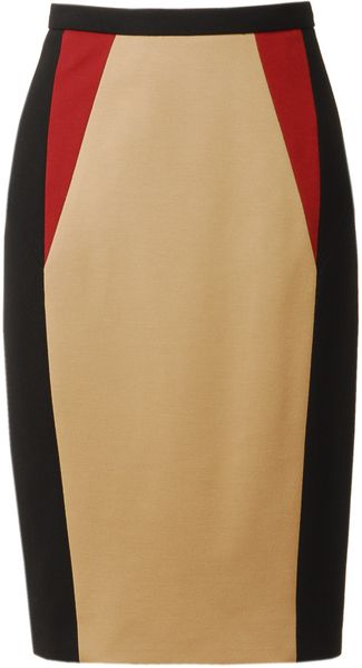 JASON WU Colour Blocked Techno Jersey Pencil Skirt - Lyst