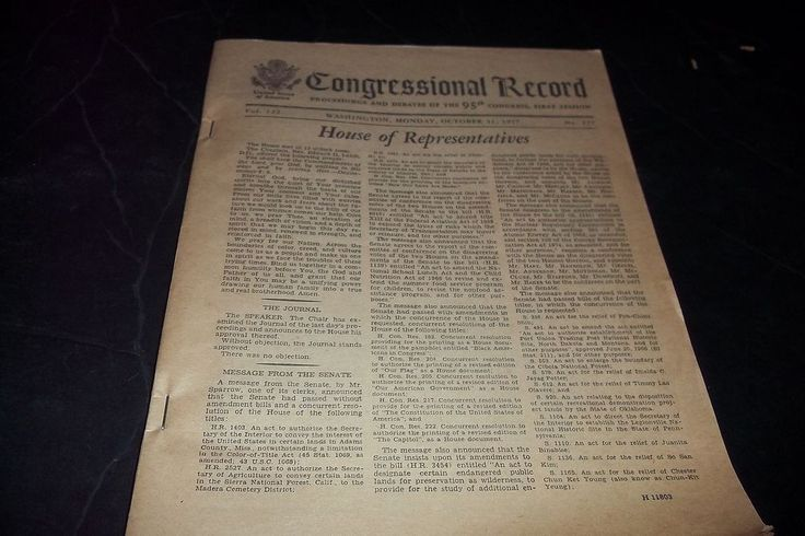 Vintage Congressional Record House  Representatives Senate Proceeding  Debate 77