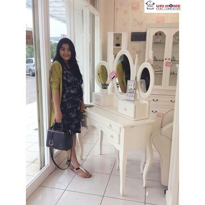 Everyone is a model here at #unihomefurniture! We have fun with our shoppers and get excited with them in all their furniture pickings. This is the Dressing Tabke (CODE: DS 103) that Ms. Rinda oh so loves! available at #unihomefurniture  Width: 100 cm Depth: 40 cm Height: 143 cm