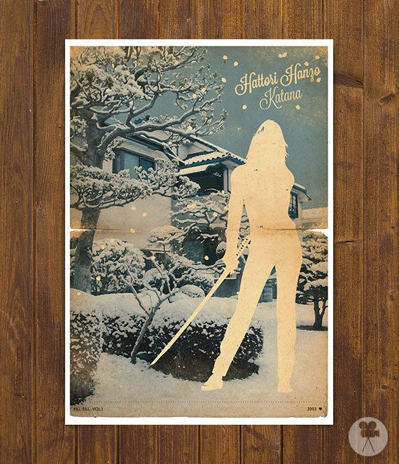 Kill Bill Movie - Poster Snow - Vintage Style Magazine Retro Print Cinema Studio Watercolor Background - Pick your Size