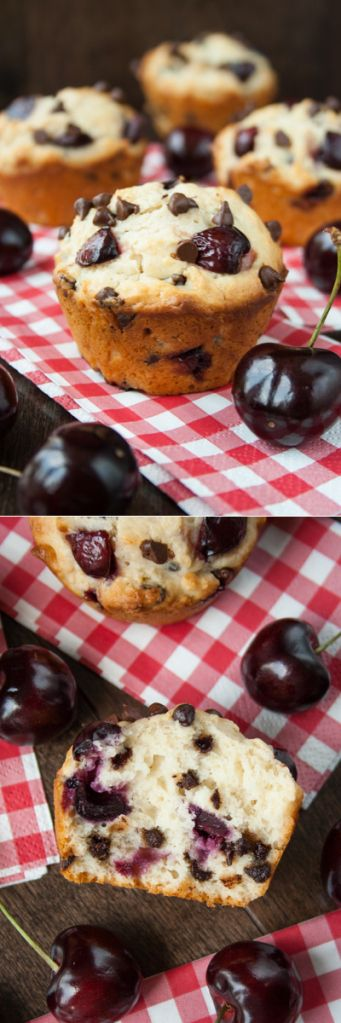 CHERRY CHOCOLATE CHIP MUFFINS Fresh juicy cherries and mini chocolate chips in a soft, fluffy and buttery muffin. These delicious muffins ar...