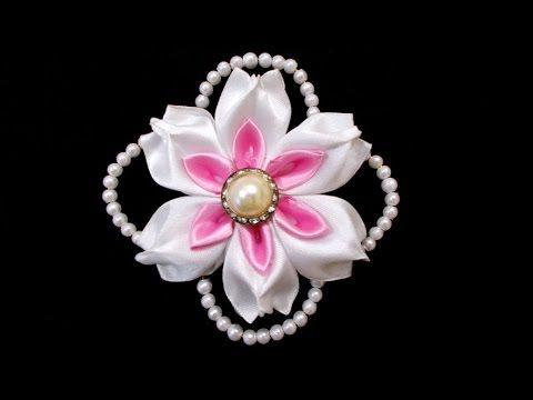 Kanzashi Flowers with Beads : How To Make DIY Satin Ribbon Flower | Wedd...
