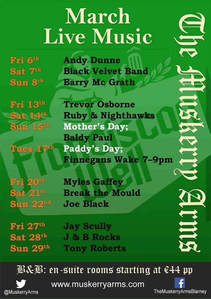 March live music at The Muskerry Arms