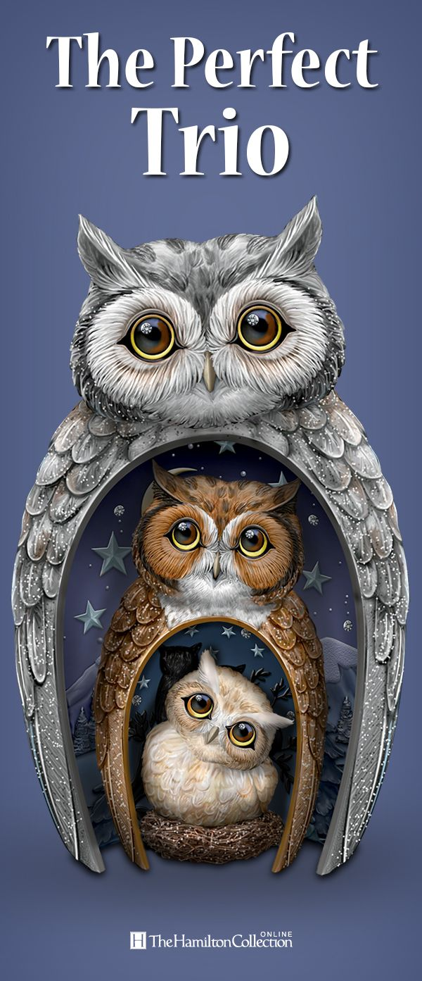 The perfect nest for nature's most majestic creatures is your home! Marvel at the beauty and wonderment of this trio of nesting owls, including dad, mom and baby owl. Whether displayed nesting together or side by side, these owls are a real hoot: