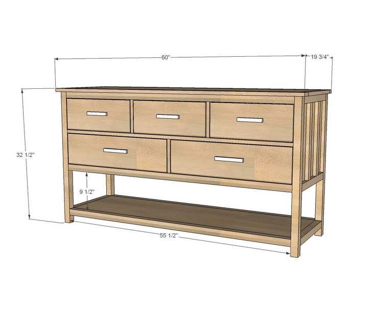 DIY Projects Wide Cabin Dresser Metal Slides Woodworking Plans By Ana White
