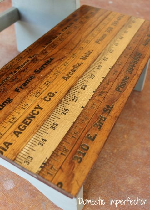 Kids step stool with yardstick steps