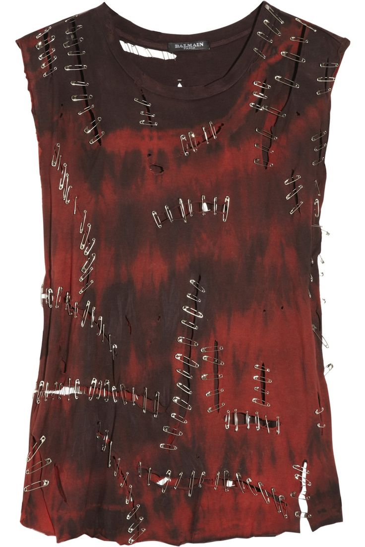 BALMAIN Red and Black Distressed Safety pin cotton tank top